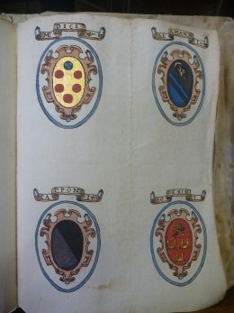 Carte Strozziane 146, coats of arms of the Medici, Alammani, Capponi, Soderini. Photo by Erin Giffin